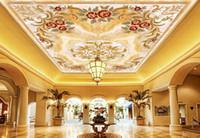 wallpaper for walls Continental pattern marble ceiling murals 3d ceiling wallpaper murals