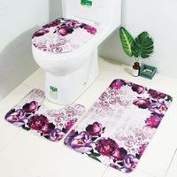 Zeegle Цветочные 3Pcs ванной Mat Set Противоскользящие коврики для ванной комнаты Подушка для туалета Туалетная обивка Туалетная ванна Коврик для ковров