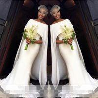 간단한 백색 웨딩 드레스 우아한 케이프 스타일 인어 신부 가운 남아 프리카 웨딩 웨딩 vestidos 사용자 정의 만든 여성 공식 착용