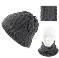 Nouveau Design Chapeau D'hiver Femmes Hommes Unisexe Mode Chapeau Écharpe 2 en 1 Anneaux Tricotés Écharpes Couleur Unie Skullies Beanie Caps