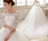 35a8cd057659 Vestido De Noiva 2018 3 4 maniche di lusso da sposa Abiti da sposa Princess