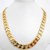 12mm Wide Thick Solid 18k Yellow Gold FilledMens Necklace Cu...