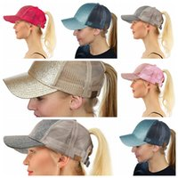 8 color women CC Glitter Ponytail Baseball Cap Shiny Messy B...