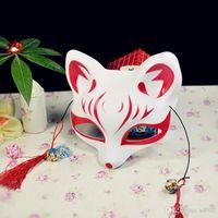 Estilo de la cara de zorro máscara de plástico de PVC japonesa exquisita Mascarillas con las fuentes de las borlas de decoración para el partido de la mascarada 4 8yd ZZ