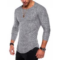 Bahar Erkekler Uzun Kollu T Shirt Casual Yuvarlak Yaka Çizgili Elastik Fit Komik Streetwear Katı Tişört Hip Hop 6 Renkler Tops