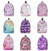17styles Flamingo Unicorn cartoon Print Backpack Casual Fema...