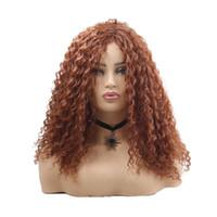 Perucas sintéticas Longa Afro Crespo Encaracolado Peruca de Cabelo Marrom Escuro para Mulheres Negras Penteado Africano Fibra de Alta Temperatura