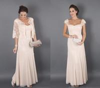 Elegant champagnefärg med jackor Mor av bruden Klänningar Formal Godmother Kvinnor Använd kvällsbröllopsgäster klänning plus storlek