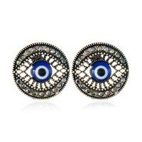 패션 블루 눈 디자인 큐빅 지 르 코니 티 스 터 드 라운드 귀걸이와 매력적인 귀걸이 소녀 파티 보석 선물 도매