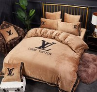 Khaki L Letter Embroidery Bedding Suit Winter Luxury Brand D...