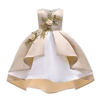 2018 Childrens Gold Embroidery Princess Dresses Kids Party C...