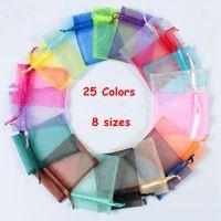 25 Renkler Hediye Wrap Organze Çanta Takı Çantası 7x9 9x12 10x15 13x18 cm Düğün Parti Dekorasyon Çizebilir Çanta Hediye Torbalar 100 adet / grup