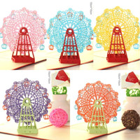 Tarjetas de felicitación Hecho a mano Noria 3D Origami 3D Pop Up Papel Corte por láser Tarjetas postales de época Regalos de feliz cumpleaños Kraft