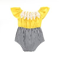 2018 New Baby Girls Rompers Floral Lace Patchwork Plaid Romp...
