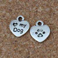 """300 قطع البسيطة 9.5x12 ملليمتر الحب القلب """"كلبي"""" مع الكلب جرو باو طباعة diy سحر قلادة ل صياغة ، صنع المجوهرات التبعي A-212"""