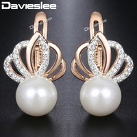 wholesale Pearl Earrings For Women Rose Gold Color Rhineston...