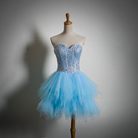 Sky Blue Tulle Homecoming Dresses Lace Up Prom Dresses Short...