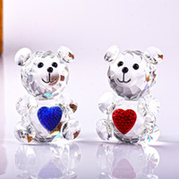 8 CM Cute Clear Glass Crystal Bear with Pink Blue Bowknot He...