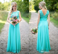 2018 New Aqua Bridesmaid Dresses Sleeveless Floor Length Lace Top Bodice Chiffon Ruched Waist Prom Party Gown Maid of Honor Dress