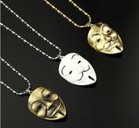 collar de máscaras Europa y Estados Unidos alrededor de la película V Killers máscara collar marea accesorios de hip hop masculino cadenas de oro al por mayor