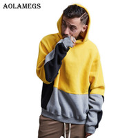 Aolamegs Hoodies Men Patchwork Letter Hood High Street Pullo...