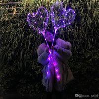 Globo LED claro para el Día de San Valentín Clearball Airballoon 18 pulgadas Amor en forma de corazón para cumpleaños Decoraciones para bodas que brillan en la oscuridad