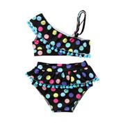 فتاة ملونة نقطة طباعة ملابس السباحة طفل قبالة الكتف ملابس السباحة قطعتين أطفال الصيف بيكيني مجموعات ملابس الطفل CN G022