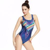 2070c2034c Professional Swimsuit 2018 New Digital Printing Women Stripe One Piece  Racing Swimwear Sports High Cut Cometition Bathing Suit