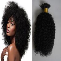 Mongolische verworrenes lockiges Haar ich Tipp Menschenhaarverlängerung 100g 1g / Strand Maschine gemacht Remy afro verworrene lockige Pre Bonded auf Capsule Echthaar