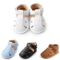 Sommer-Baby-Jungen-Mädchen-Sandalen erster Wanderer-Kleinkind-Kinder weiche Sohle Anti-Rutsch-PU-Leder Krippe Schuhe