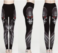 Women Leggings Skull Eyes 3D Graphic Print Girl Skinny Stret...