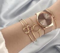 Nueva venta caliente de Europa y estilo de moda estadounidense Metal simple Siente 3 piezas Traje pulsera Electroplate oro