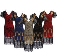 Usine En Gros Nouvelles Femmes Vintage Des Années 1920 Robes Floary Perlée Flapper Robe Avec Manches Gatsby Show Costume Livraison Gratuite