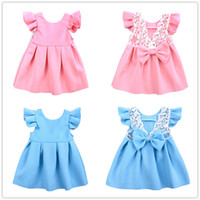 Girls solid color flying sleeve princess dress lace decro bo...