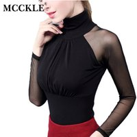 MCCKLE Women' s Mesh Turtleneck Shirt Sexy Slim Patchwork...