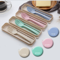Creative Wheat Straw Tableware Set Children Chopsticks Fork ...