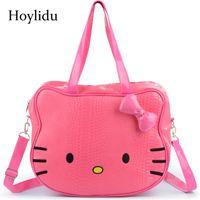 98a704218b41 Women Cartoon Cute Hello Kitty Handbag Girls Crossbody Bags Waterproof PU  Leather Children Shoulder BagTravel Tote Kid Hand Bag