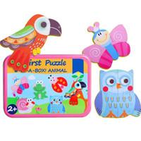 6 en 1 Bande Dessinée En Bois Puzzle Board Puzzle Casse-tête Puzzle Bébé Jouets Casse-tête Enfants Tangram Formes Puzzle Conseil