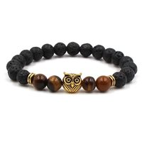 Lava Rock Tiger Eye Bracciali Gufo Buddha Palm Lion Manubri Yoga Bracciale Braccialetti per le donne Uomini regalo