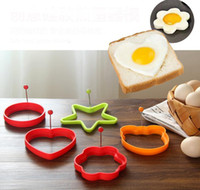 Huevo de silicona freír Molde herramientas Forma de estrella redonda Corazón Anillos de huevo frito Panqueques Forma Huevo Herramientas SN1483