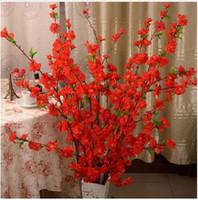 Yapay Kiraz Bahar Erik Şeftali Çiçeği Şube İpek Çiçek Ev Düğün Dekoratif Çiçekler Plastik Şeftali Buket 65 CM P0.21