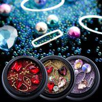 Metal Rhinestones Nail Art Glitter Süsleri Tasarım Olmayan Düzeltme Taşlar Elmas AB Renk Farklı Boyut Şekli Takı için