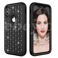 Defender Hard Cover Full Case Téléphone Pour iPhone X 8 7 Plus Samsung S9 Note8 Slim Luxe Bling Diamond Hybride PC Silicone Antichoc