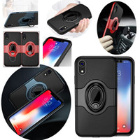 For iPhone XR Cases Magnetic Buckle Ring Kickstand Case for ...