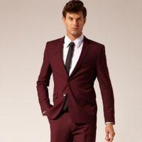 Custom Made abiti da sposa misura d'uomo Abiti su misura per gli uomini del vino rosso sposo vestito 2 Psc smoking dello sposo Jacket + Pants