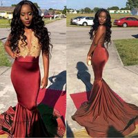 2019 Newest Gold Lace Mermaid Sexy Black Girl Prom Dress Bur...