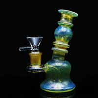 "Mini Bubbler Pipe Glass Bong Dab con recipiente de vidrio 5 ""Oil Rig Bongs Colorful Mini Bong Pipe Water Heady Bongs Rigs Somking Pipes"