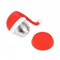 قبعة عيد الميلاد شكل كيس شاي صانع infuser مصفاة سيليكون تصفية الناشر هدية تصميم جديد الإبداعية عالية مقاومة للحرارة ، وسهلة كلي