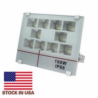 Estoque em US + 50W 100W 200W LED Floodlights Luzes de inundação ao ar livre Iluminação de paisagem 180 graus Rotating AC 85-265V