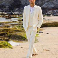 여름 해변 아이보리 리넨 남성 정장 웨딩 정장 캐주얼 정장 신랑 신부 턱시도 옷깃 코트 바지 3 피스 자켓 + 바지 + 넥타이